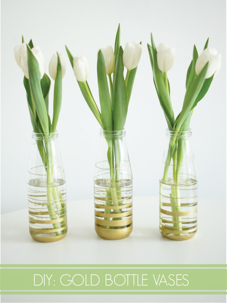Gold bottle vases