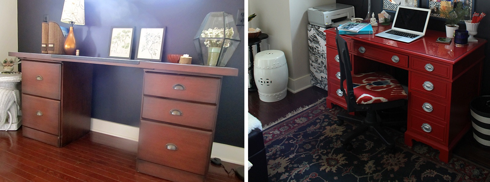 Makeover desk through red paint