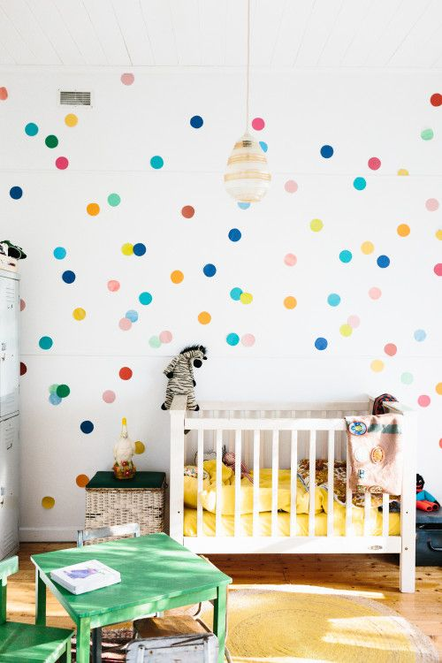 Nursery room with colorful dots