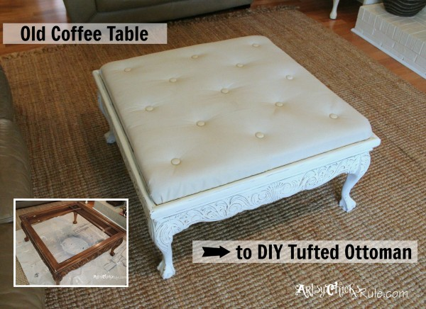 Old coffee table turned into an ottoman