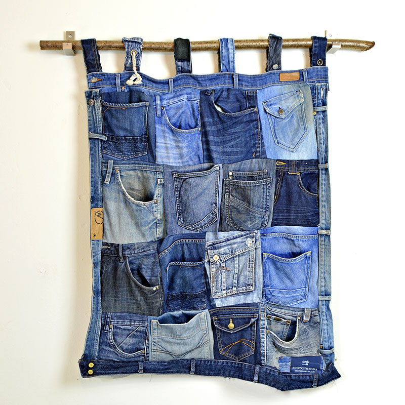 Old denim jeans pocket organizer
