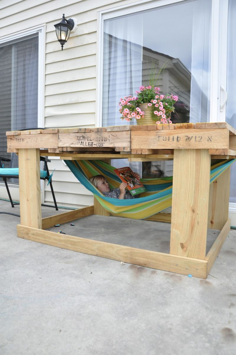 Furniture Made Out Of Pallets Part - 21: Outdoor Pallet Table For Kids