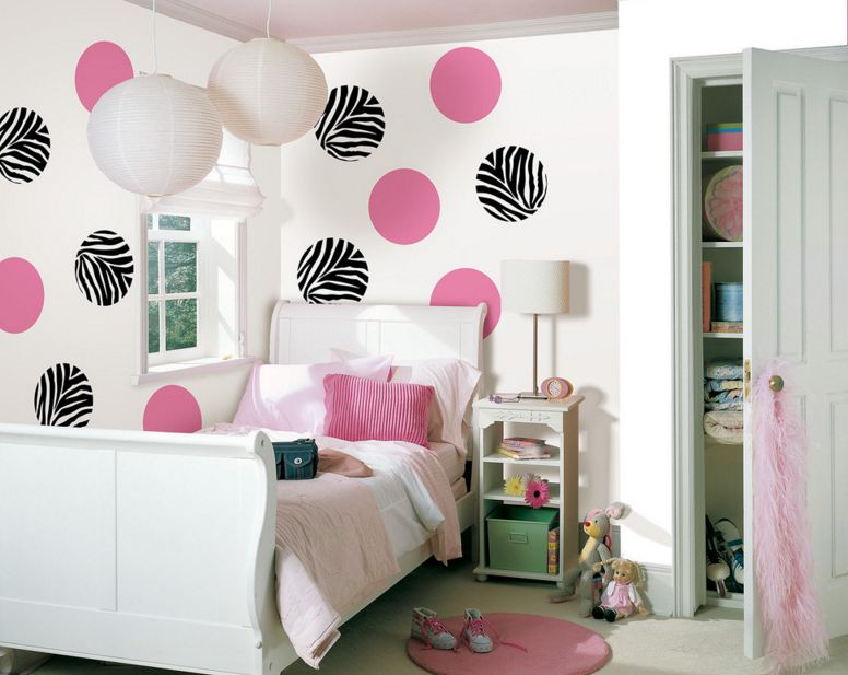 bedroom wall designs for girls. Pink And Black Large Polka Dots Bedroom Wall Designs For Girls