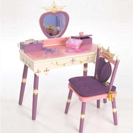 the levels of discovery princess vanity table and chair set. Black Bedroom Furniture Sets. Home Design Ideas