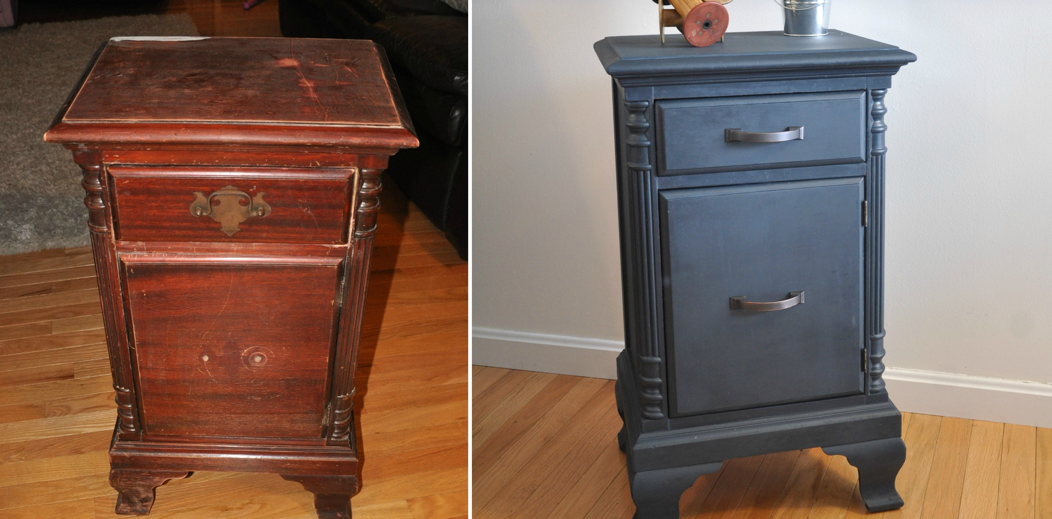 Small nightstand makeover with paint
