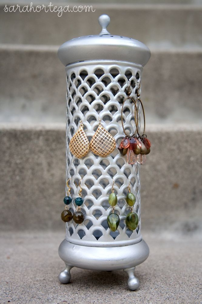 Spray paint makeover jewelry holder