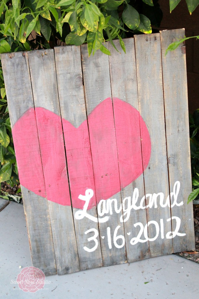 Wedding date on pallet