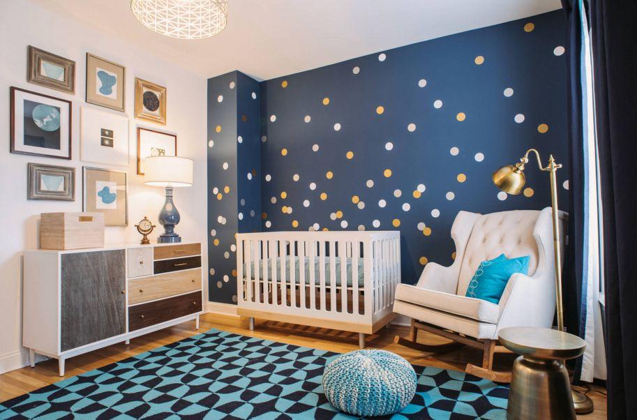 White and gold polka dots for blue nursery room