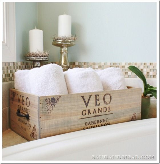 Wine Crate Storage for towels