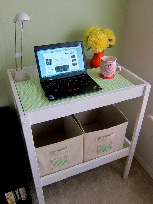 Creative DIY project: changing table turned into an office ...