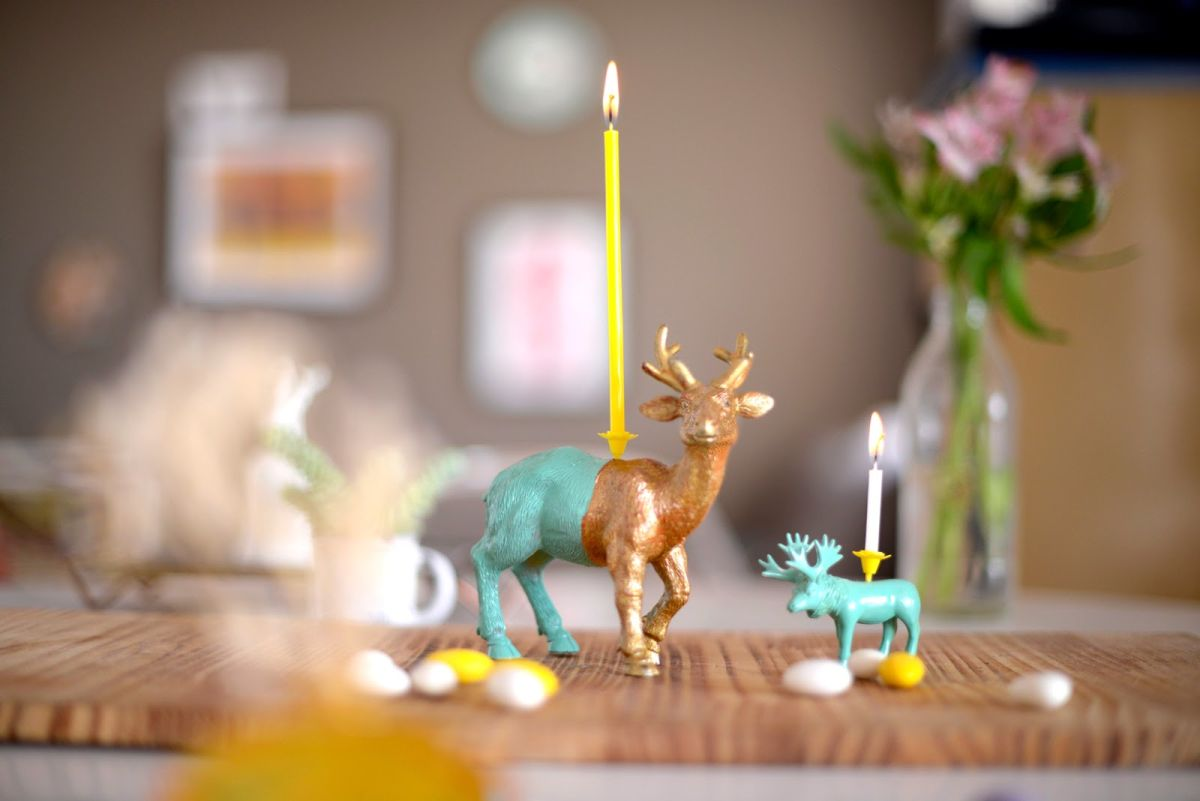 animal figurines candle holders