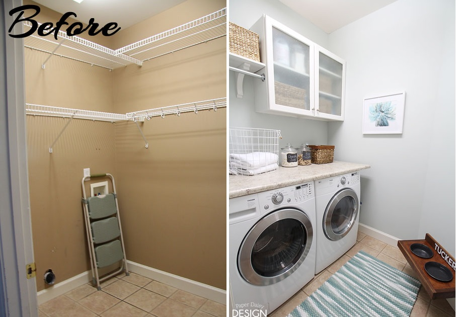 before and after laundry makeover