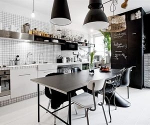 Tiny black and white apartment decorated with subway tiles