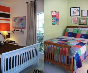 Before and after boy's room transformation