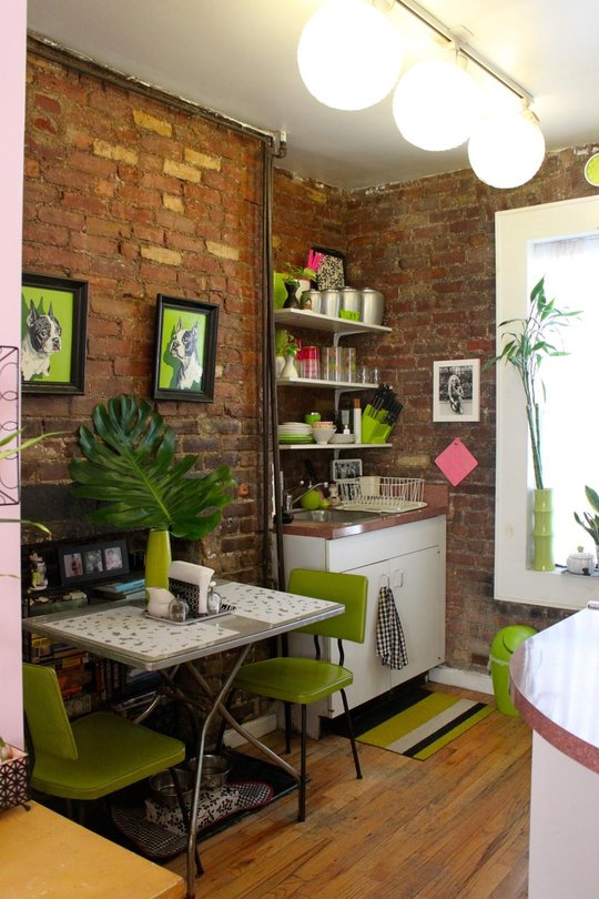 old new york apartments interior.  Tiny apartment in New York with exposed brick walls