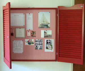 DIY bulletin board with shutters