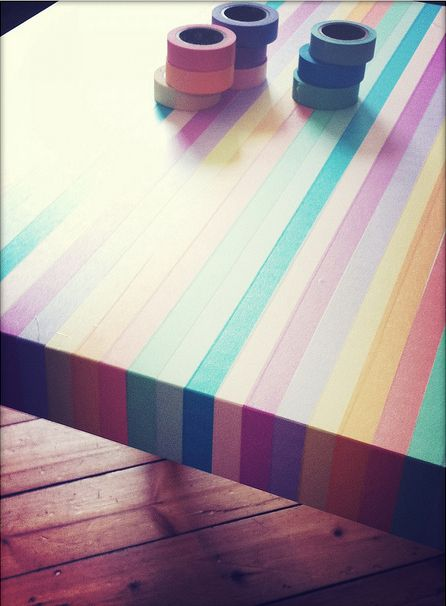 Simple Way Of Turning A Wooden Table Into A Colorful Item