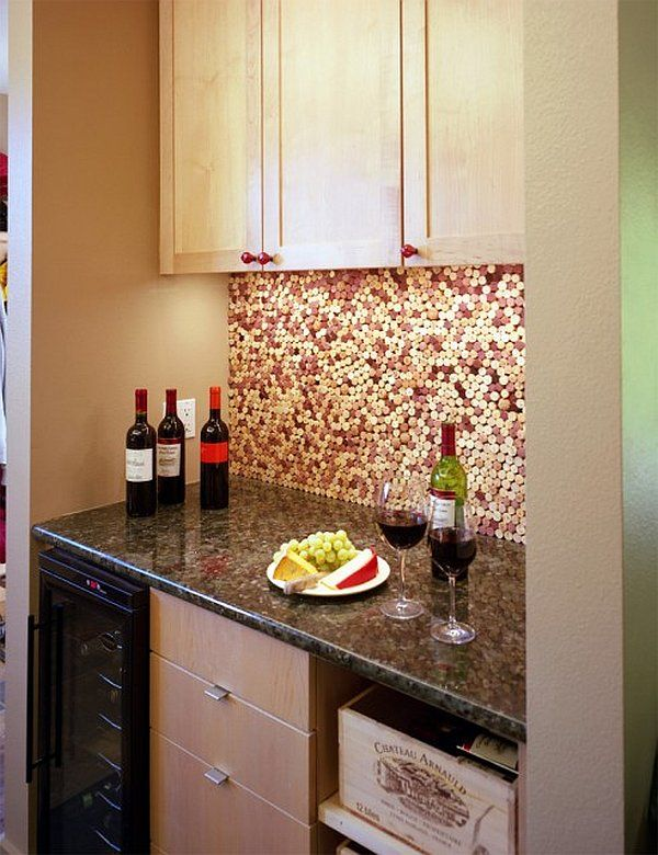 Backsplash Designs Decoration DIY Wine Cork Kitchen Backsplash.