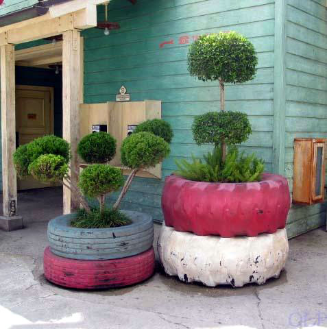 Another Outdoor Planter Made From Recycled Tyres.