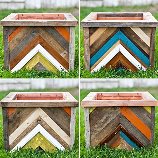 DIY Chevron Patterned Reclaimed Wood Planter Box.
