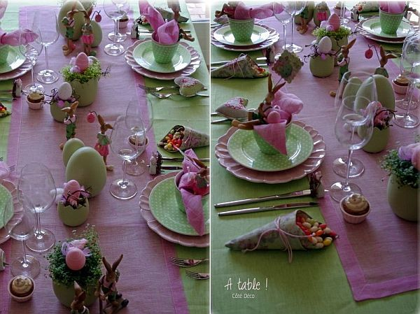 funny rose and green easter table decoration. Black Bedroom Furniture Sets. Home Design Ideas