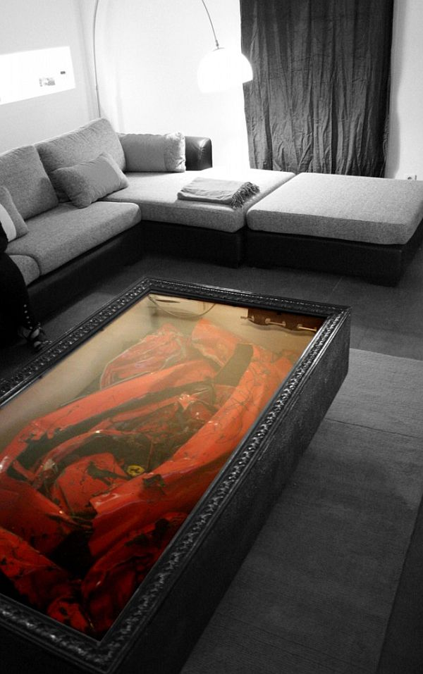 decor and design ferrari decor and design Crashed Ferrari turned into a coffee table