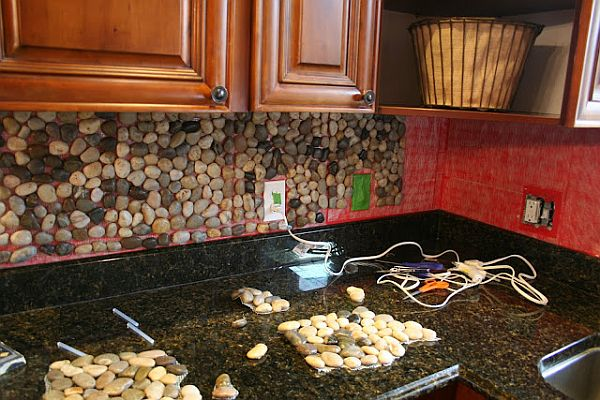 Stone Kitchen Backsplash.