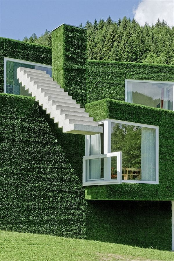 futurystyczny zielony dom
