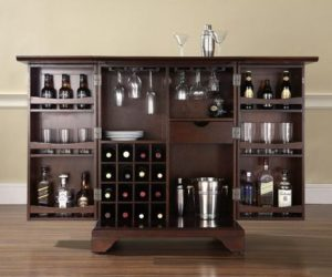 Expandable Bar Cabinet in Vintage Mahogany