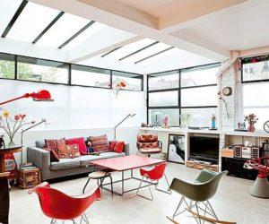 Bright French loft with a retro interior décor