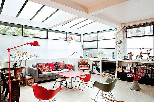 Awesome Bright French Loft With A Retro Interior Décor Photo Gallery