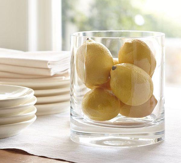 Lemon in glass vase