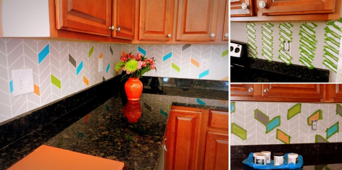 Kitchen Backsplash Diy Ideas Part - 48: Painted Backsplash.