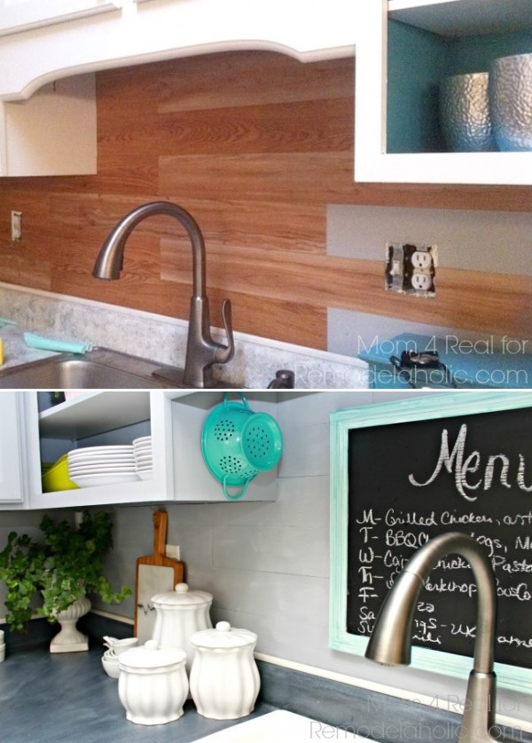 Peel and stick faux wood backsplash.