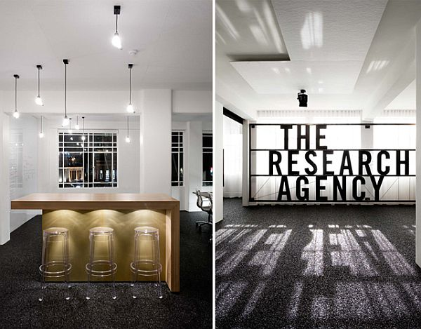 Simple and contemporary research agency office in new zealand for Interior design branding agency