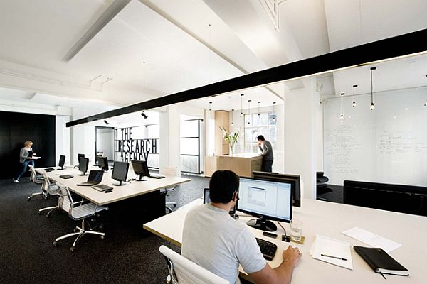 Simple and contemporary research agency office in new zealand for Interior design travel agency office