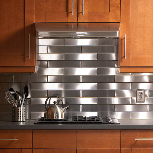 Stainless kitchen backsplash.