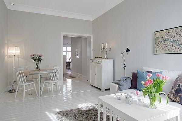 Clean white 57 square meters apartment