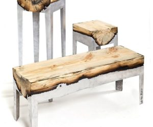 Burnt wood furniture by Hilla Shamia
