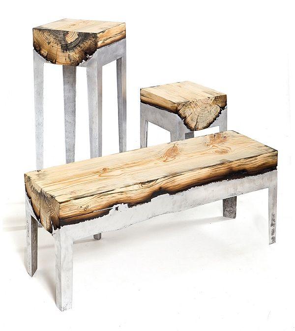 Burnt wood furniture by Hilla Shamia
