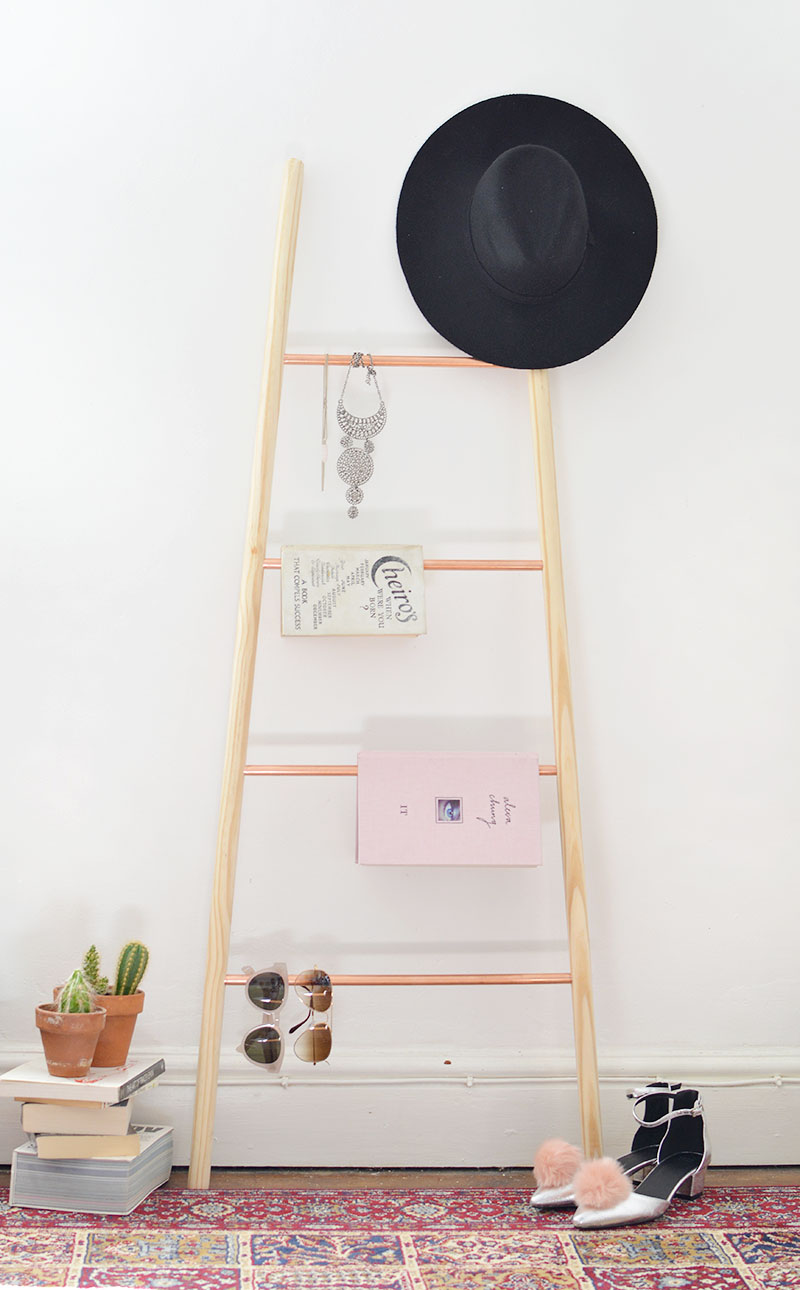 Copper and wood ladder shelf