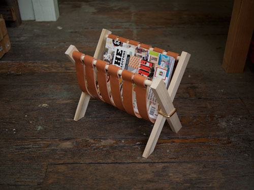 Diy Magazine Rack With Leather Straps And Wood