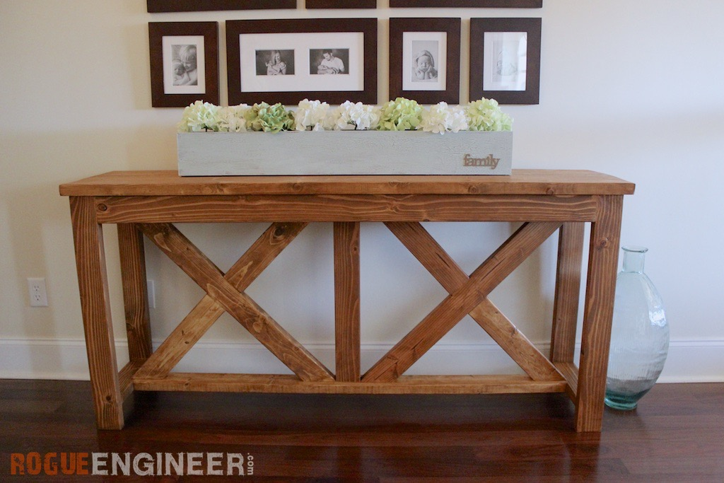 prodigious Diy Narrow Table Part - 10: DIY x brace console table