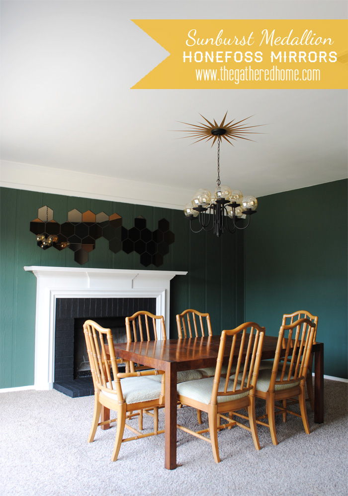 Dining room design with honeycomb mirrors