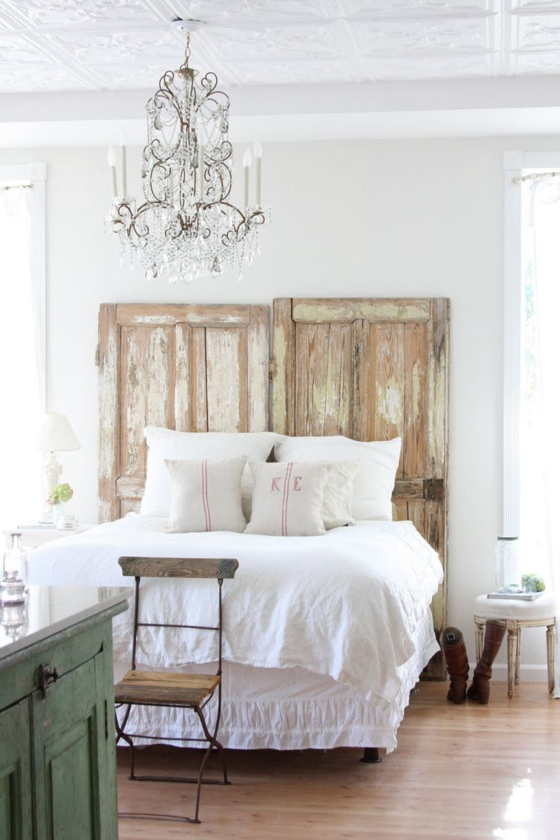 Doors used like headboard for a vintage look