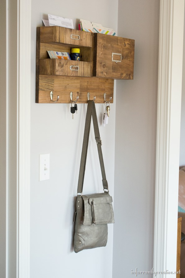 Entryway wood mail storage