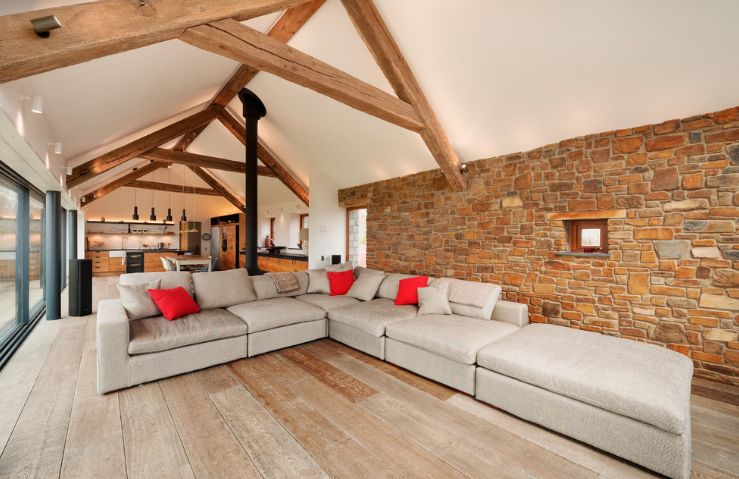 Exposed bricks and wood beams