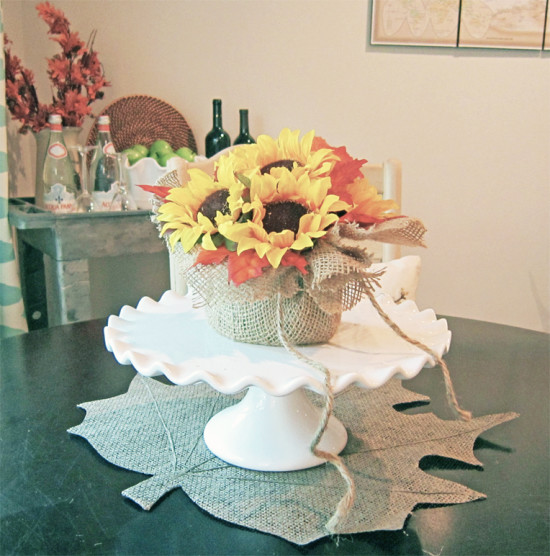 Fall centerpiece with burlap