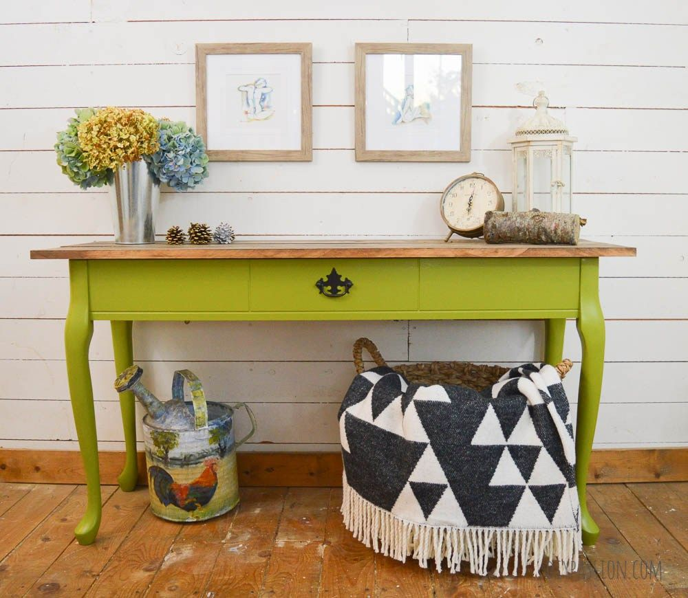 Green console table makeover