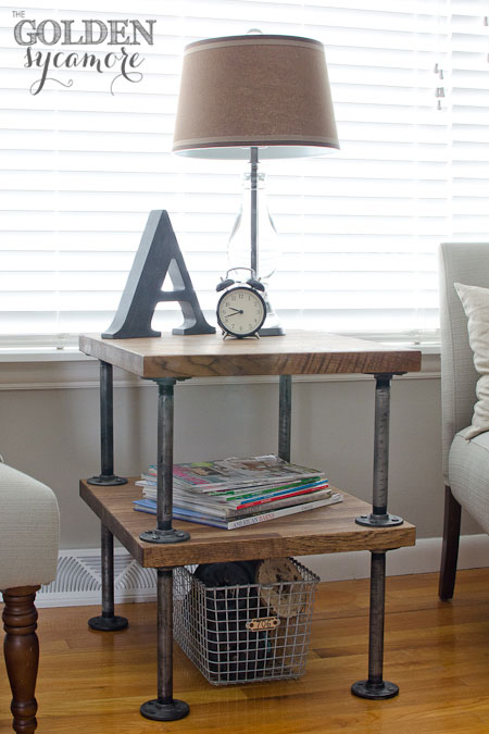 Indutrial end table with pipes and wood